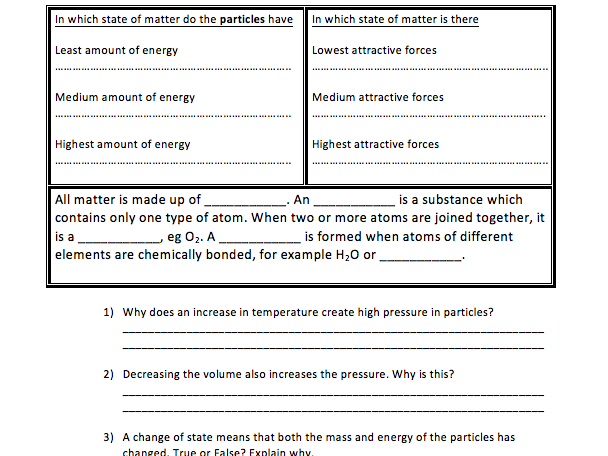 Simple states of matter and elements worksheet