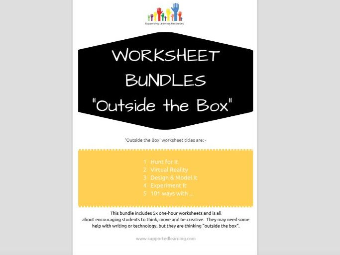 SPECIAL EDUCATION x5 worksheets - OUTSIDE THE BOX - thinking, linking, processing skills