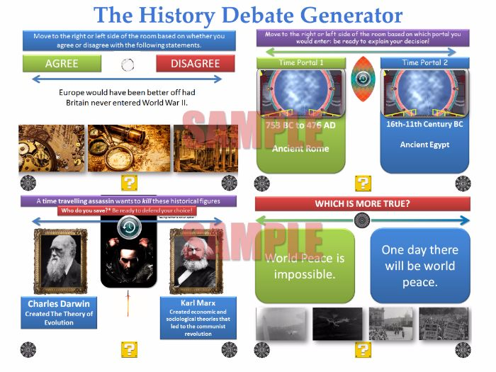 The History Debate Generator [200 Slide PPT with 'Randomiser'] [P4C] [Discussions, debates,dilemmas]