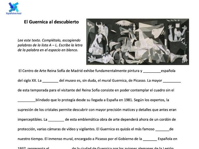Guernica - Gap Fill - A-level- SPANISH