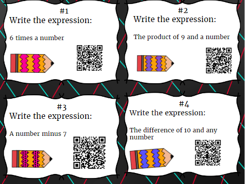 20 Simplifying Expressions with Variables with QR codes