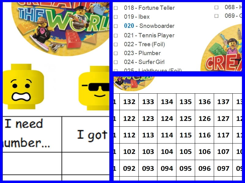 Lego create world collect cards number square (up/downwards) named list 1-140 &'still need' cards