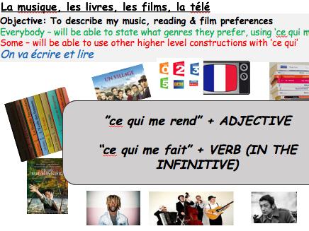 KS3 KS4 French: Ce qui me rend, ce qui me fait + TV/Music/Books/Film - Grammar, Reading, Lesson