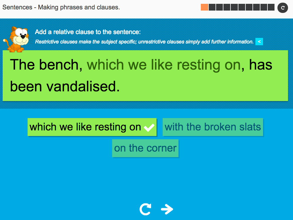 Making phrases and clauses - Interactive Activity - KS3 Spag