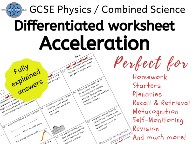 Acceleration Velocity Time -  GCSE Physics and/or Combined Science Differentiated Equation Worksheet