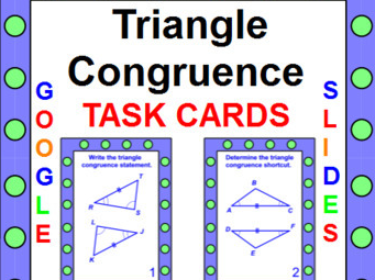 "TRIANGLES CONGRUENT TRIANGLES TASK CARDS / SCAVENGER HUNT: ""GOOGLE SLIDES"","