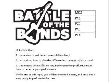KS3 Battle of the Bands Scheme of Work