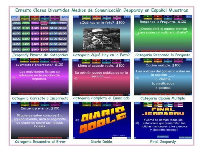 News Media Spanish Jeopardy Game