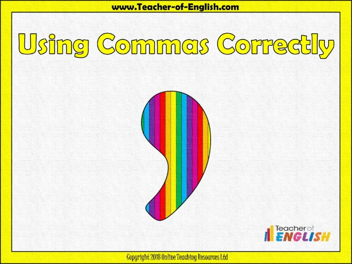 Using Commas (PowerPoint and worksheets)