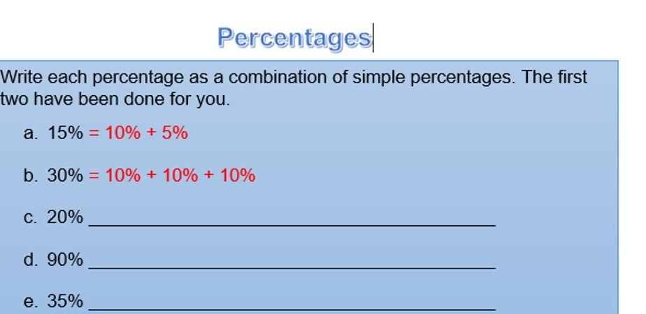 Percentage worksheets