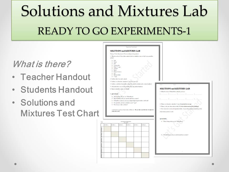 Solution and Mixtures Lab - Ready to go Experiments