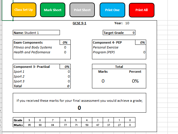 9-1 Edexcel GCSE PE Tracker and Grade Calculator SAMPLE