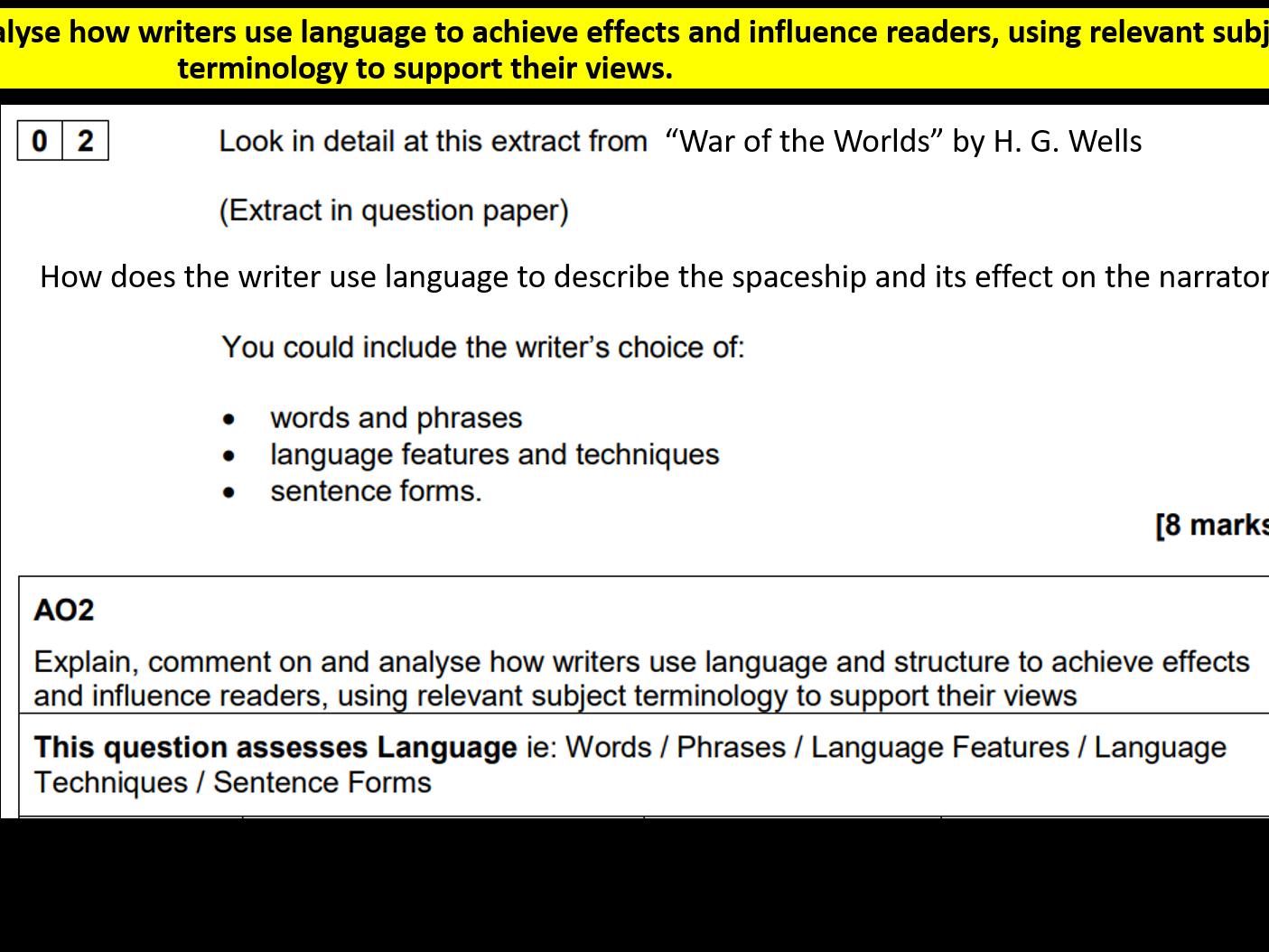 SAVE 20% Language Analysis Q2 English Language Paper 1 AQA Bundle
