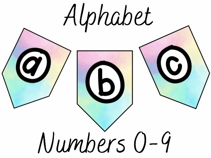 Pastel Bomb Letters and Numbers for Display Banners