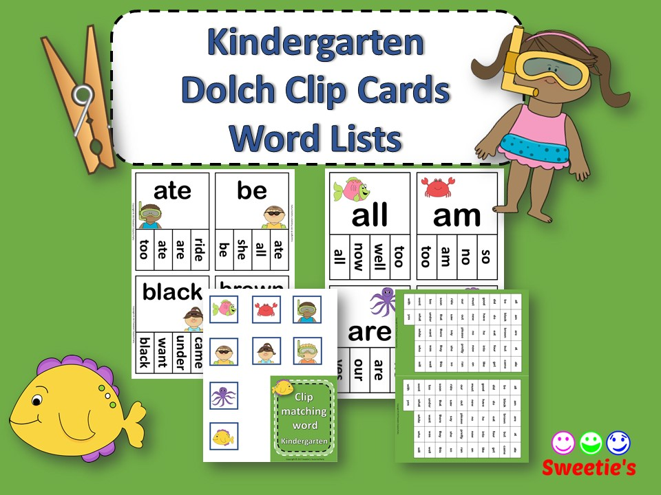 Dolch Sight Words Kindergarten Clip / Clothespin Cards - OceanTheme