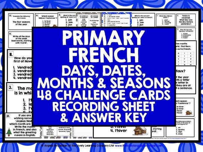 PRIMARY FRENCH DAYS MONTHS SEASONS DATES CHALLENGE CARDS