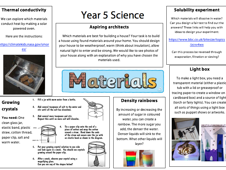 Year 5: Science - Materials