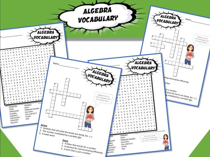 Algebra Vocabulary: Part 1 Activities