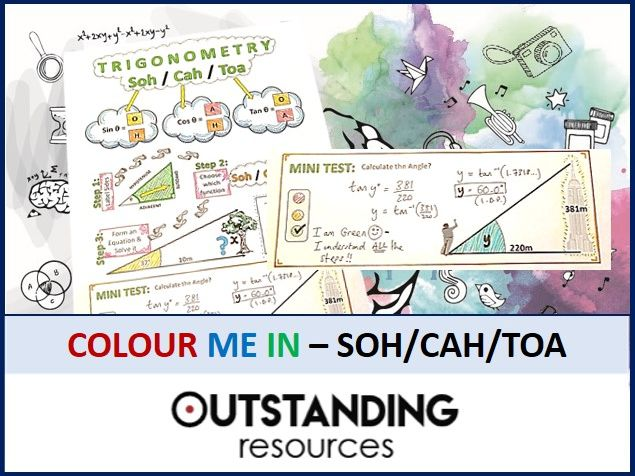 Geometry: Colour Me In Sheets (Doodle Notes) - SOH/CAH/TOA (Basic TRIG)