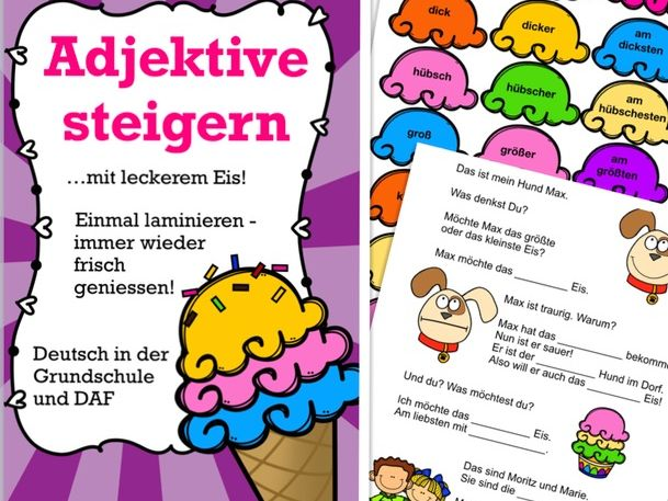 ADJEKTIVE steigern! Deutsch / German adjectives comparison for kids + reading / writing activities