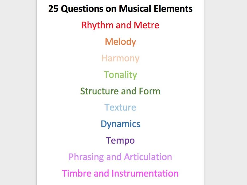 GCSE Music Elements and Genres 50 Qs