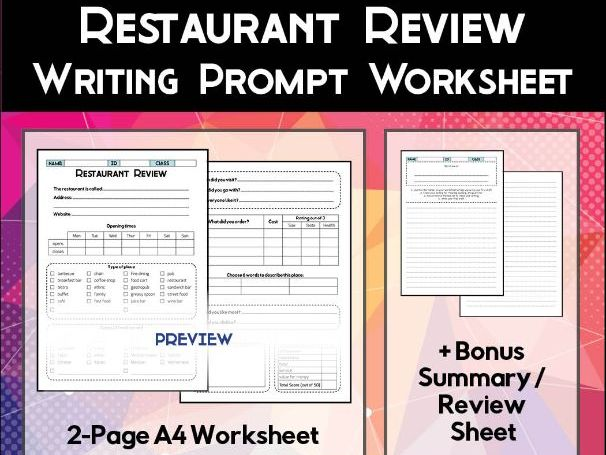 Restaurant Review Worksheet