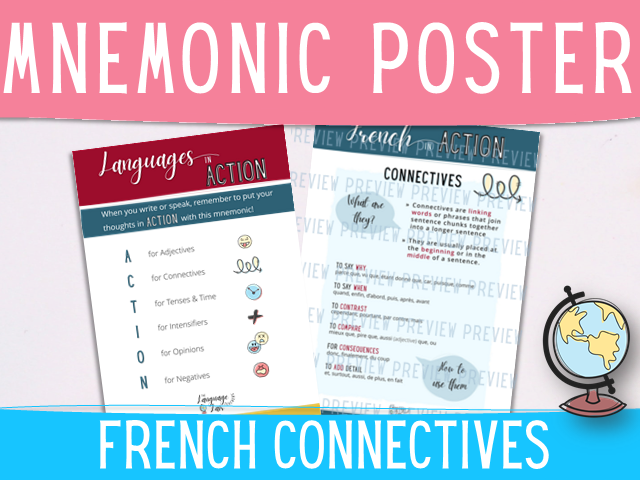 French connective words classroom display