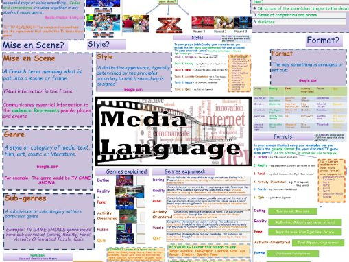 TV GAME SHOW EXAM REVISION POSTERS A3  - MEDIA LANGUAGE