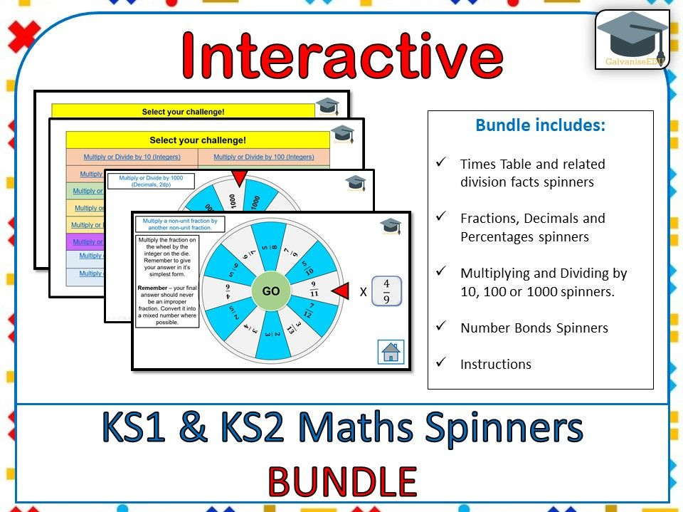 Interactive KS1 and KS2 Maths Spinners