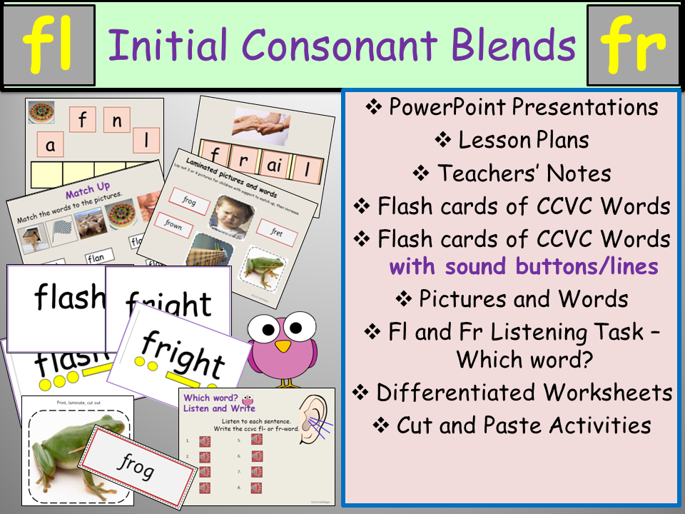 Phonics Initial Blends Fl And Fr Ccvc Words Presentation Lesson