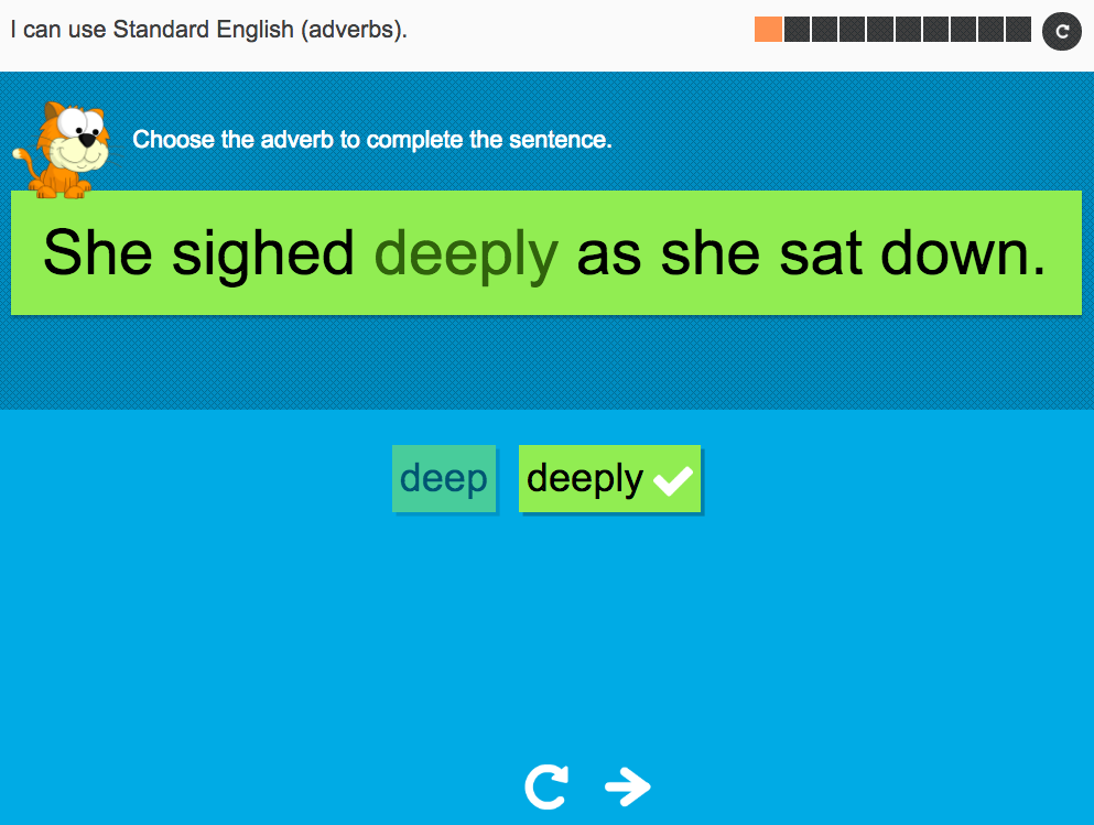 I can use Standard English (adverbs) - Interactive Activity - Year 4 Spag