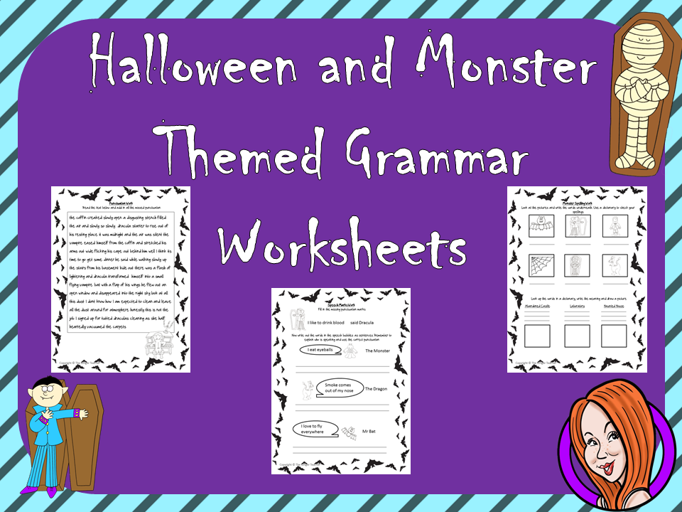 Printable Worksheets halloween adjectives worksheets : Halloween Grammar Worksheets by TheGingerTeacher - Teaching ...