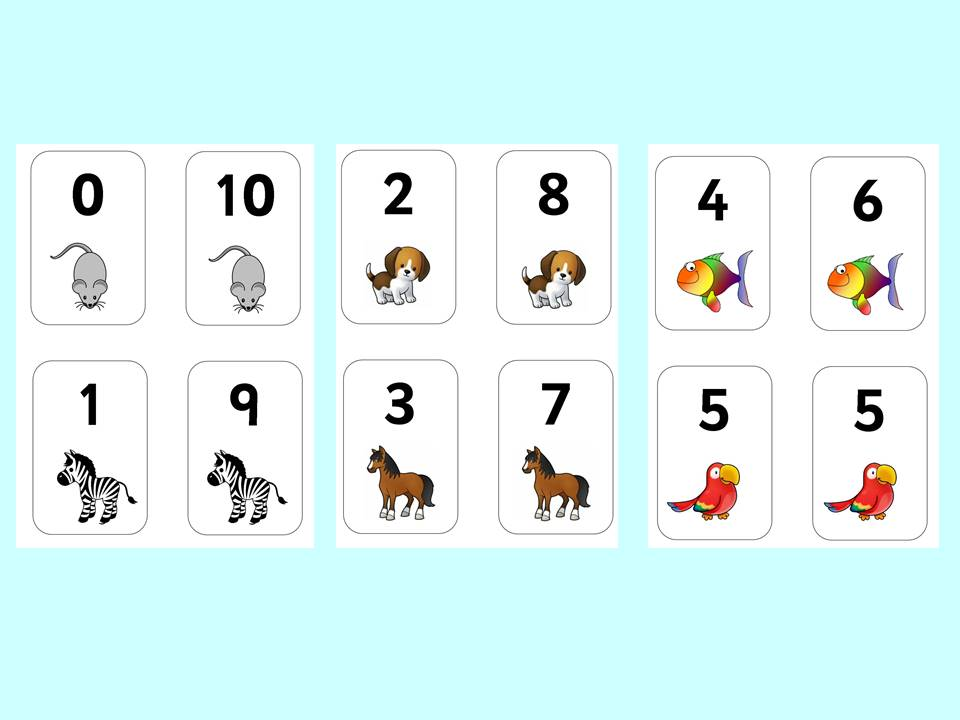 Number Bonds to 10 animal matching cards.