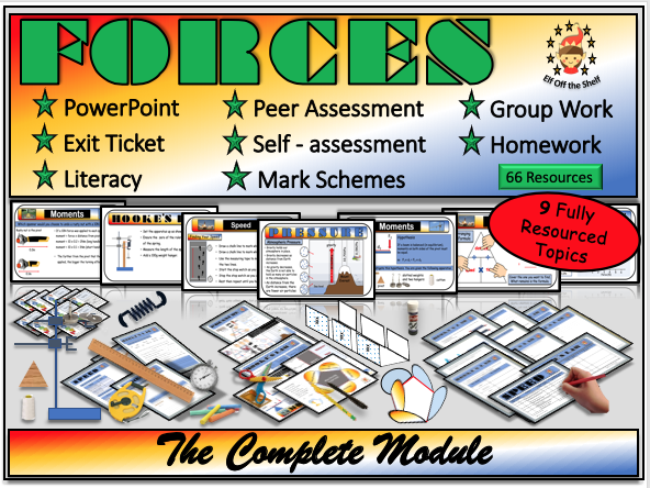 Forces - The Complete Forces Module for KS3 (Mass, Weight, Friction, Air Resistance, Balanced and Unbalanced Forces, Pressure, Speed, Moments, Hooke's Law)