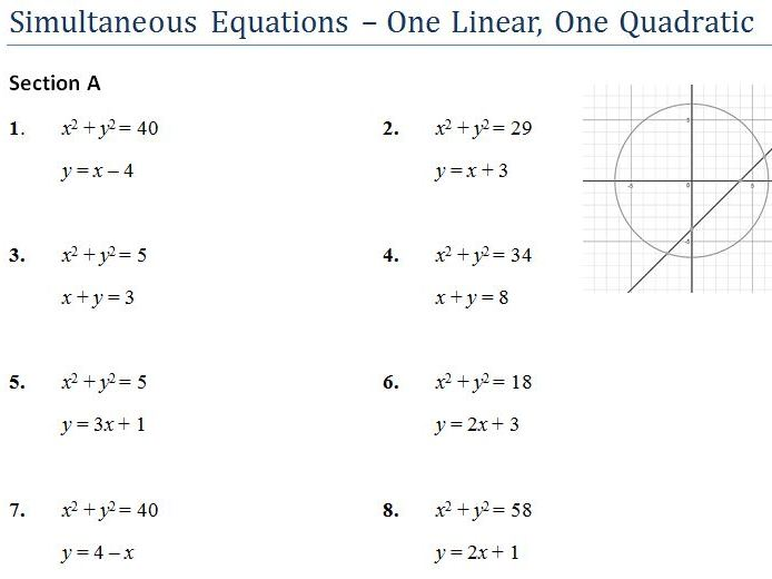 Simultaneous Equations with One Quadratic worksheet and Powerpoint