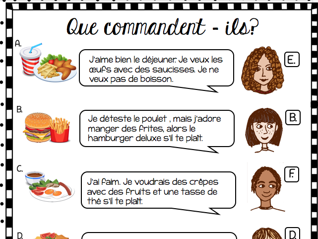 French - Ordering at a restaurant