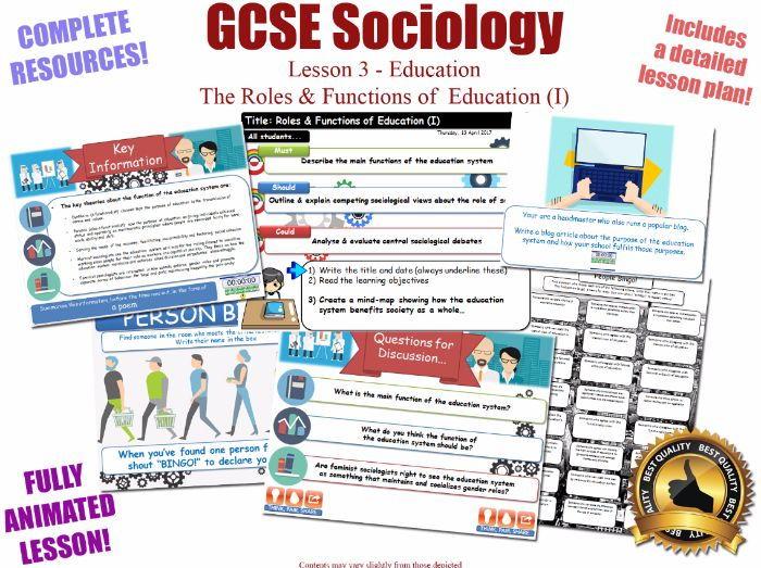 Roles & Functions of Education - Sociology of Education L3/20 [ AQA GCSE Sociology - 8192 ] NEW KS4