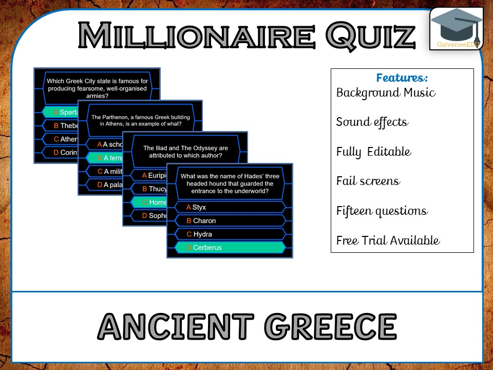 Millionaire Quiz! (Ancient Greece Edition)