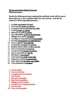 Pronoms compléments Double object pronouns worksheet 6