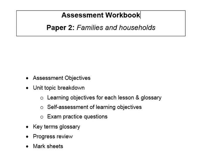 Complete workbook for the new A Level Sociology specification, for PAPER 2 FAMILIES & HOUSEHOLDS