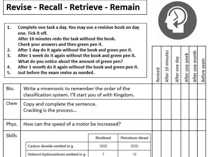 GCSE science AQA retrieval sheet free sample