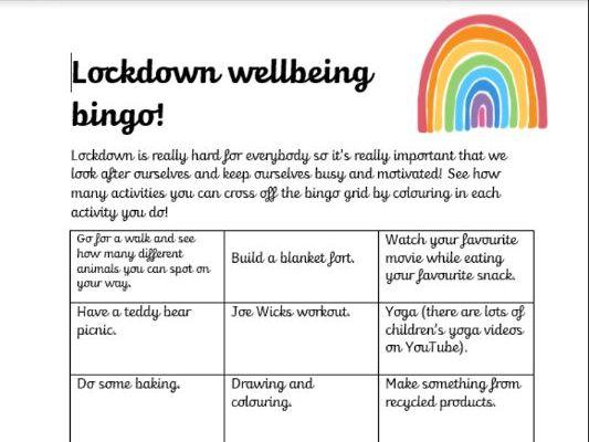 Lockdown Wellbeing Bingo!