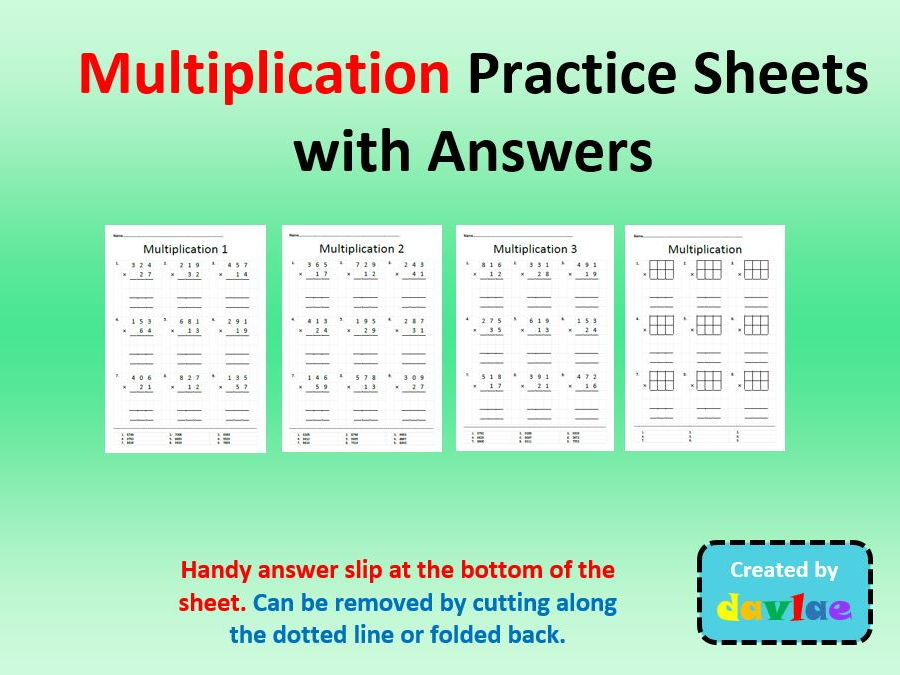 Multiplication Practice Sheets with Answers