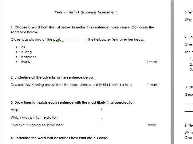 Year 5 Grammar Test - Term 1