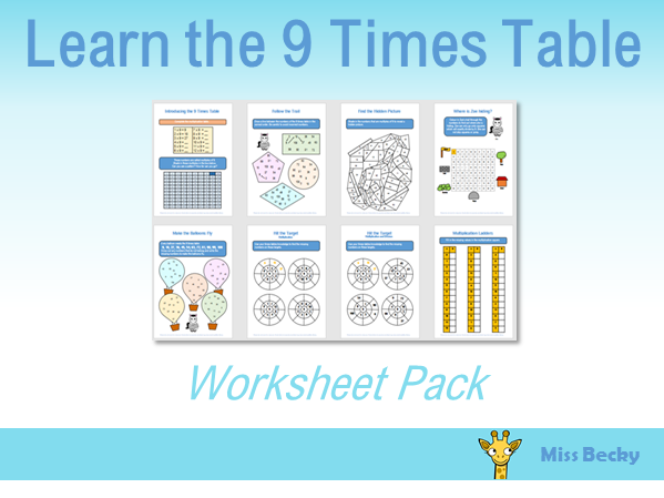 9 Times Table Worksheet Pack