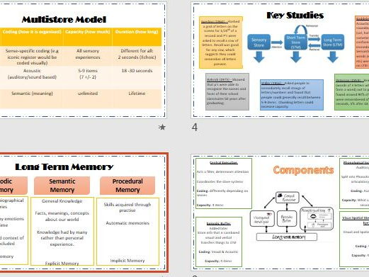 MEMORY Revision Powerpoint for whole topic.  Teacher and Student Versions.  AQA Psychology.