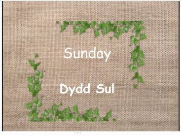Natural Days of the Week - Welsh + English