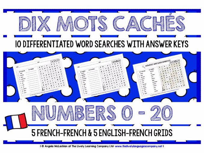 PRIMARY FRENCH - NUMBERS 0-20 - 10 DIFFERENTIATED WORD SEARCHES WITH ANSWER KEY