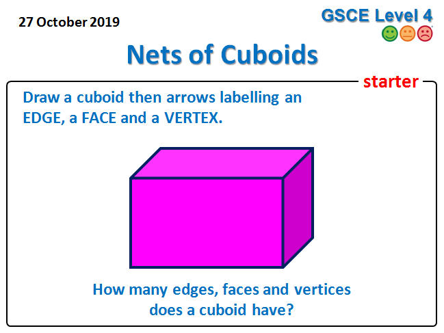 Drawing Nets of Cuboids Lesson