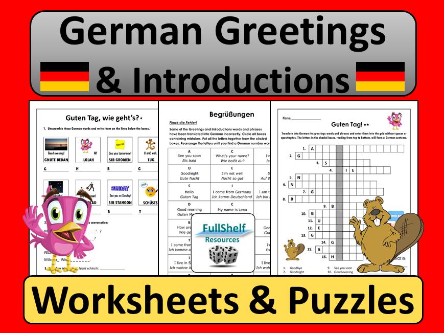 German Greetings Worksheets